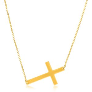 14K Yellow Gold Plain Cross Motif Necklace