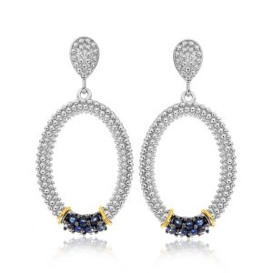 18K Yellow Gold & Sterling Silver Popcorn Oval Blue Sapphire Accented Earrings